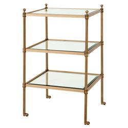 Eichholtz Aubrey Hollywood Regency Beveled Glass Brass 3 Tier Side Table