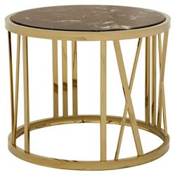 Eichholtz Baccarat Hollywood Regency Brown Marble Gold Round Side Table