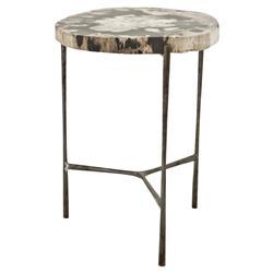 Eichholtz Boylan Rustic Loft Petrified Wood Round Side Table