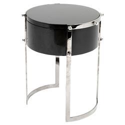 Eichholtz Coco Modern Regency Silver Black Round Storage Side Table