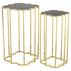 Eichholtz Concentric Hollywood Regency Black Glass Gold Side Tables - Set of 2