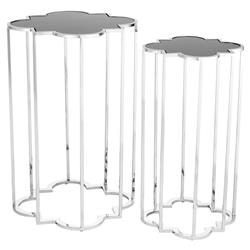 Eichholtz Concentric Hollywood Regency Black Glass Silver Side Tables - Set of 2
