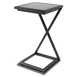 Eichholtz Criss Cross Modern Classic Gunmetal Black Glass Side Table