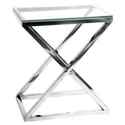 Eichholtz Criss Cross Modern Classic Rectangular Silver Glass High Side Table