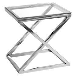 Eichholtz Criss Cross Modern Classic Rectangular Silver Glass Side Table