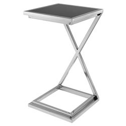Eichholtz Criss Cross Modern Classic Silver Black Glass Side Table