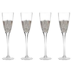 Elm Modern Classic Platinum Crosshatched Champagne Flutes - Set of 4