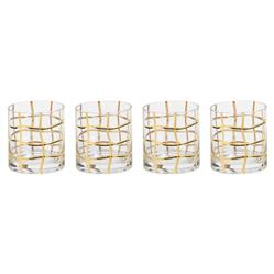 Mitcham Hollywood Regency Gold Striped Double Old Fashioned Glasses - Set of 4