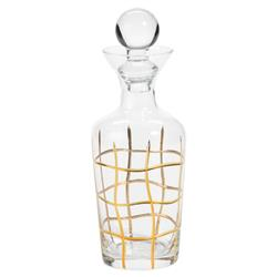 White Rock Hollywood Regency Gold Striped Glass Decanter