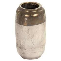 Valere Modern French Country Narrow Cylindrical Gold Top Ceramic Vase - 14 Inch