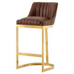 Carrington Hollywood Regency Brown Channeled Leather Gold Counter Bar Stool