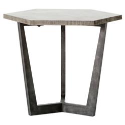 Asha Industrial Loft Grey Stone Iron Hexagon Side End Table