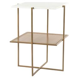Lawrence Modern White Marble Antique Brass Tiered Square Nightstand End Table