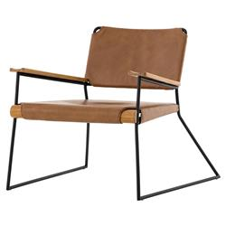 Enoch Industrial Loft Brown Leather Black Metal Wood Arm Chair