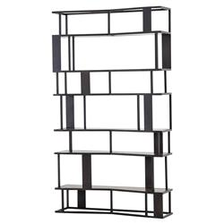 Kling Industrial Loft Antique Bronze Iron Oak Wood 6 Shelf Etagere Bookcase