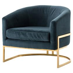 Crowley Hollywood Regency Blue Green Velvet Gold Occasional Arm Chair