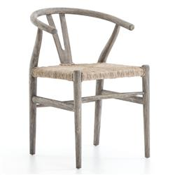 Wanda Rustic Mid-Century Wicker Wishbone Grey Wood Dining Chair