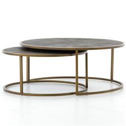 Massey Modern Regency Antique Brass Shagreen Round Nesting Round Coffee Table