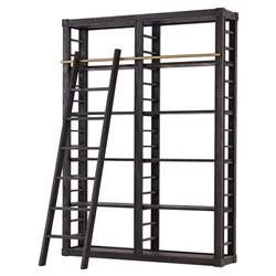 Sharon Modern Classic Black Wood 10 Shelf Ladder Open Back Bookcase