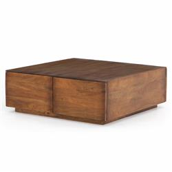 Eagan Rustic Lodge Light Brown Reclaimed Wood Square Storage Coffee Table
