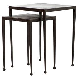 Fector Industrial Loft Rust Brown Black Iron Square Nesting End Tables