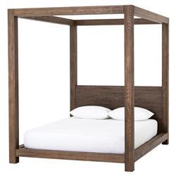 Welk Rustic Lodge Oak Wood Four Poster Canopy Bed - Queen