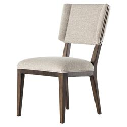 Eldrick Modern Classic Beige Upholstered Brown Birch Wing Back Dining Chair