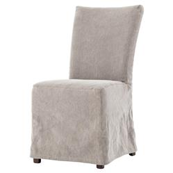 Seibert Modern Classic Grey Twill Slipcover Dining Chair