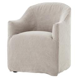 Desiree Modern French Country Beige Twill Slipcover Dining Arm Chair