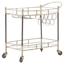 Crawley Modern Regency Brass Copper Mirrored Storage Bar Cart