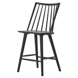 Pruitt Modern Rustic Black Oak Wood Danish Counter Stool