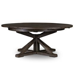 "Chabert French Reclaimed Wood Round Extendable Dining Table - Small - 47.25""-63"""