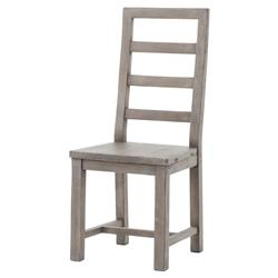 Neibolt Rustic Lodge Dark Grey Reclaimed Wood Ladder Back Dining Chair