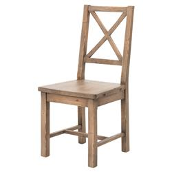 Padgett Rustic French Country Reclaimed Wood Cross Back Dining Side Chair