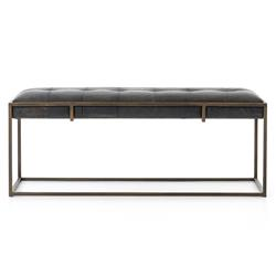 Ulysses Industrial Lodge Tufted Brown Leather Antique Brass Bench