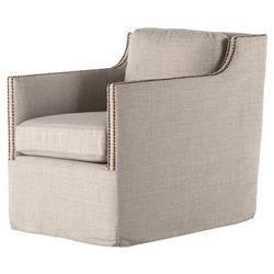 Darienne Modern Classic Beige Grey Cushioned Slipcover Swivel Arm Chair