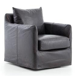Devlin Industrial Black Leather Cushion Back Slipcover Swivel Arm Chair