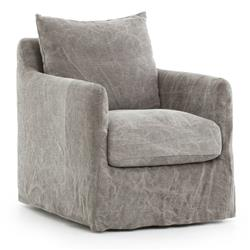 Devlin Industrial Stonewashed Grey Jute Cushion Back Slipcover Swivel Arm Chair