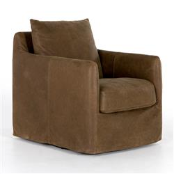Devlin Industrial Brown Leather Cushion Back Slipcover Swivel Arm Chair