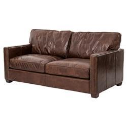 Darla Rustic Lodge Antique Brass Nailhead Trim Brown Leather Cushion Back Sofa