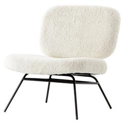 Aster Modern Industrial Ivory Faux Angora Black Iron Accent Chair