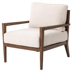 Lora Mid Century Modern Classic Ivory Cushioned Walnut Arm Chair