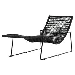 Craven Industrial Loft Black Woven Iron Outdoor Lounge Chair