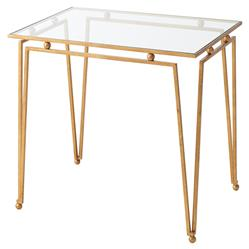 Theodore Alexander Ariel Gilt Steel Glass Top Rectangular Side End Table