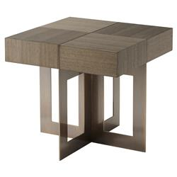 Theodore Alexander Bloc Pierced Brass Slab Legs Quartered Oak Side End Table