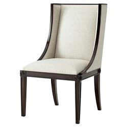 Theodore Alexander Boston Ebonised Mahogany Cream Heathered Wingback Side Chair