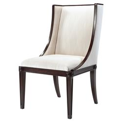 Theodore Alexander Boston Ebonised Mahogany Cream Wingback Side Chair