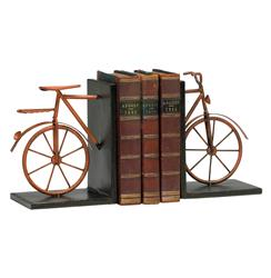 Antique Red Rustic Metal Bicycle Decorative Bookends | Kathy Kuo Home