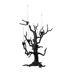Rustic Carved Sculpted Iron Tree 6 Arm Candleholder