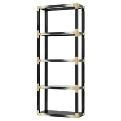 Cutting Edge Modern Classic Black Lacquered Faux Horn Etagere